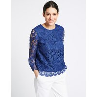 Per Una Lace Round Neck Long Sleeve Blouse
