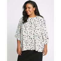M&S Collection CURVE Printed Kimono 3/4 Sleeve Blouse