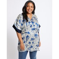 M&S Collection CURVE Floral Print V-Neck Half Sleeve Blouse