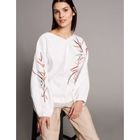 Autograph Embroidered V-Neck Long Sleeve Blouse