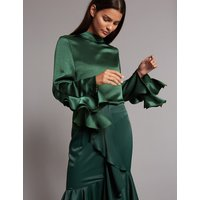 Autograph Funnel Neck Ruffle Sleeve Blouse