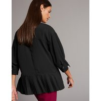 Autograph Pleated Round Neck 3/4 Sleeve Blouse