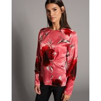 Autograph Floral Print Satin Long Sleeve Blouse