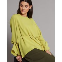 Autograph Cuff Detail Round Neck Long Sleeve Blouse
