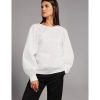 Autograph Pure Cotton Pleated Long Sleeve Blouse