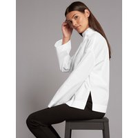 Autograph Pure Cotton Funnel Neck Long Sleeve Blouse
