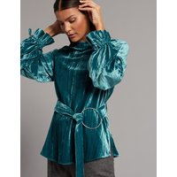 Autograph Velvet Plisse Round Neck Long Sleeve Blouse