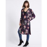 Limited Edition Floral Print Longline Long Sleeve Kimono Top