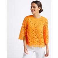 Per Una Lace Round Neck 3/4 Sleeve Blouse