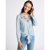 M&S Collection Striped Embroidered Tie Front Blouse