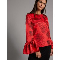 Autograph Floral Print Round Neck Long Sleeve Blouse