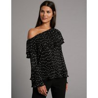 Autograph Spotted One Shoulder Long Sleeve Blouse