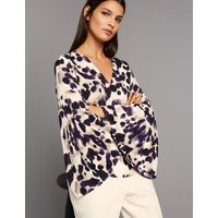 Autograph Animal Print V-Neck Long Sleeve Blouse