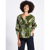 M&S Collection Pure Cotton Palm Print 3/4 Sleeve Blouse