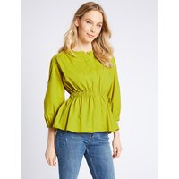 M&S Collection Pure Cotton Long Sleeve Blouse