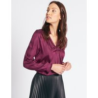 M&S Collection Satin Popover Notch Neck Long Sleeve Blouse