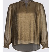 M&S Collection Metallic Notch Neck Long Sleeve Blouse