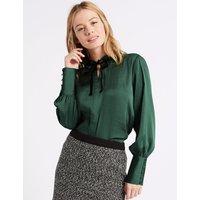 M&S Collection PETITE Velvet Trim Long Sleeve Blouse