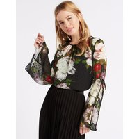 M&S Collection PETITE Floral Print Long Sleeve Blouse