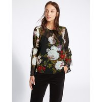 M&S Collection Floral Print Round Neck Long Sleeve Blouse