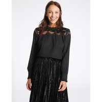 M&S Collection Lace Yoke Round Neck Long Sleeve Blouse
