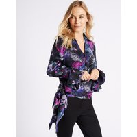 M&S Collection Floral Print Satin Wrap Tie Side Blouse