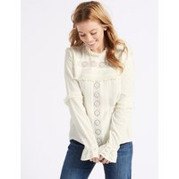 M&S Collection PETITE Ruffle Round Neck Long Sleeve Blouse