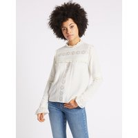 M&S Collection Ruffle Round Neck Long Sleeve Blouse