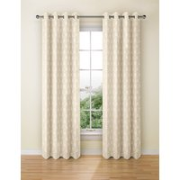 Hexagonal Geometrical Print Eyelet Curtain