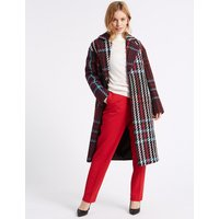 M&S Collection PETITE Double Breasted Checked Coat