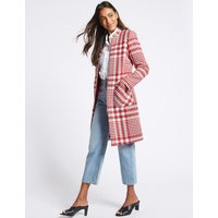 M&S Collection Checked Zipped Front Coat