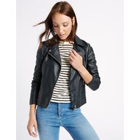 M&S Collection Crossed Zipped Biker Jacket