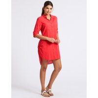 M&S Collection Pure Cotton 3/4 Sleeve Shirt Dress