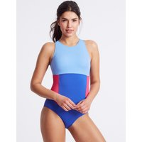 M&S Collection Secret Slimming High Neck Colour Block Swimsuit