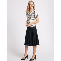 Classic Textured A-Line Midi Skirt