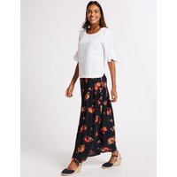 M&S Collection Floral Print Crinkle Full Maxi Skirt