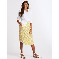 M&S Collection Floral Print Jersey A-Line Midi Skirt