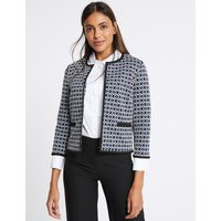 M&S Collection Geometrical Print Open Front Blazer