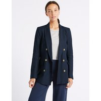 M&S Collection Linen Blend Double Breasted Blazer