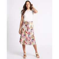 Classic Pure Cotton Floral Print A-Line Midi Skirt