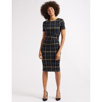 M&S Collection Checked Half Sleeve Pencil Dress