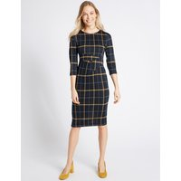 M&S Collection Cotton Blend Checked Twist Side Pencil Dress