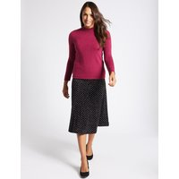 Classic Spotted Flock A-Line Midi Skirt
