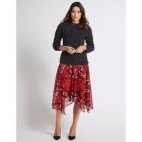 Per Una Chain Print Chiffon A-Line Midi Skirt