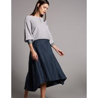 Autograph Pure Linen Asymmetric A-Line Midi Skirt