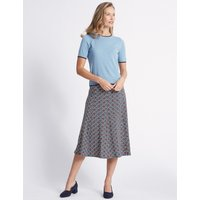 Classic Printed Flocked A-Line Midi Skirt