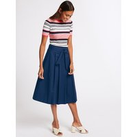 M&S Collection Cotton Rich Belted Full Midi Skirt