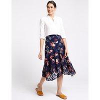 Per Una Floral Print Asymmetric A-Line Midi Skirt