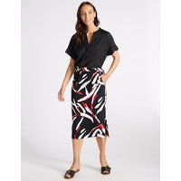 MandS Collection Geometric Print A-Line Midi Skirt