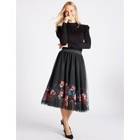 MandS Collection Floral Print A-Line Midi Skirt